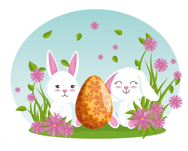 Rabbits with eater egg and flowers plants Free Vector