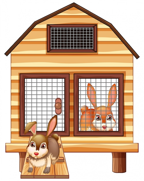 Rabbits in the wooden coop Free Vector