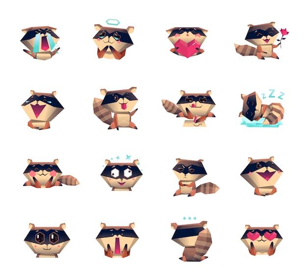 Raccoon cartoon character icons big set Free Vector