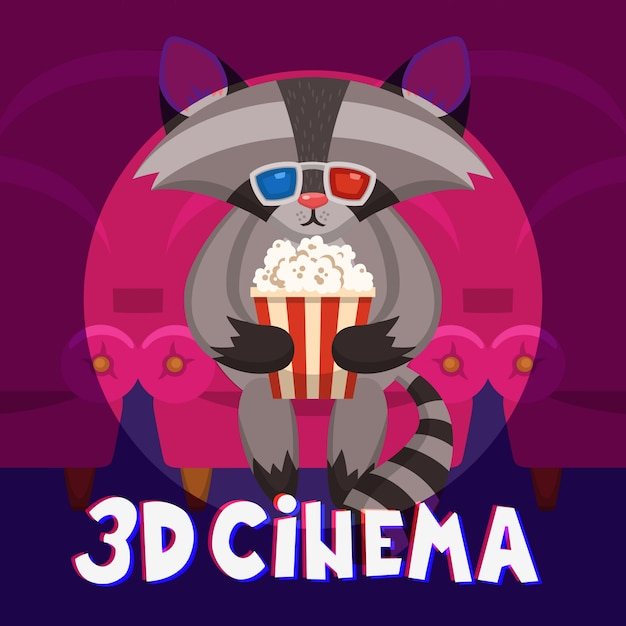 Raccoon cinema poster Free Vector