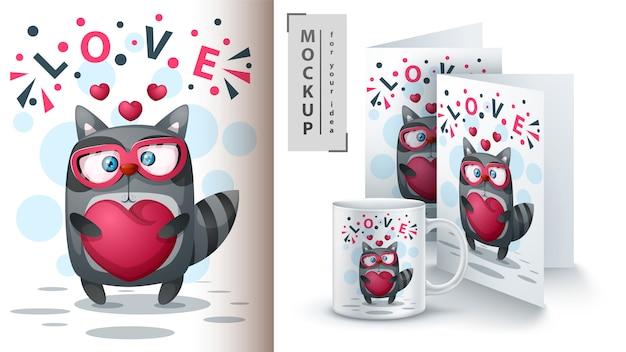 Raccoon with heart poster and merchandising Premium Vector