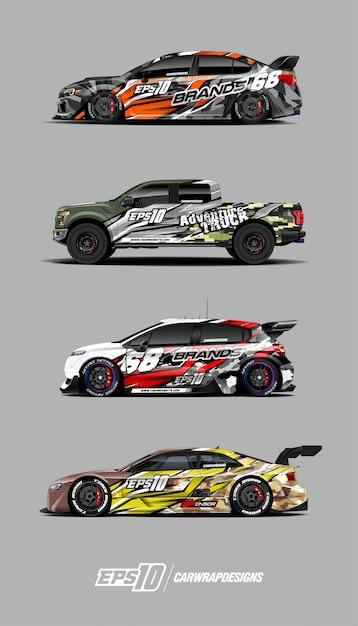Race car decal set designs Premium Vector