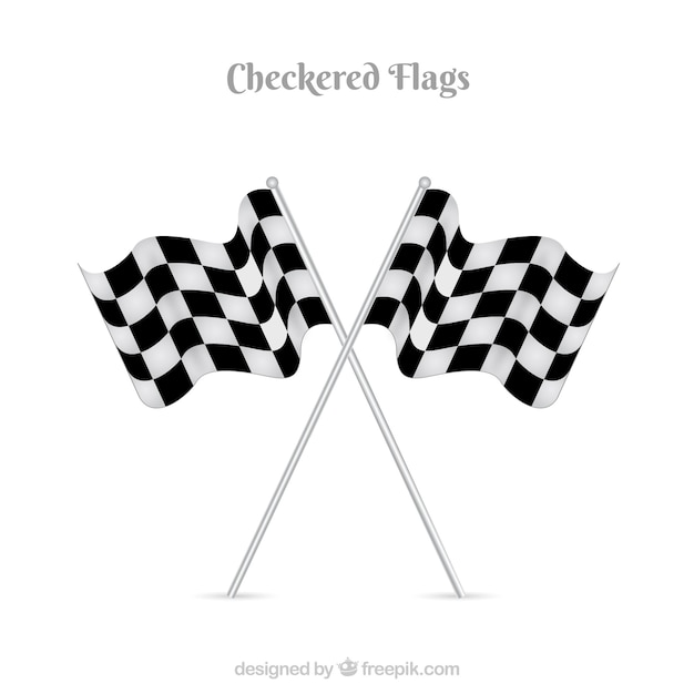 Race checkered flags with flat design Free Vector