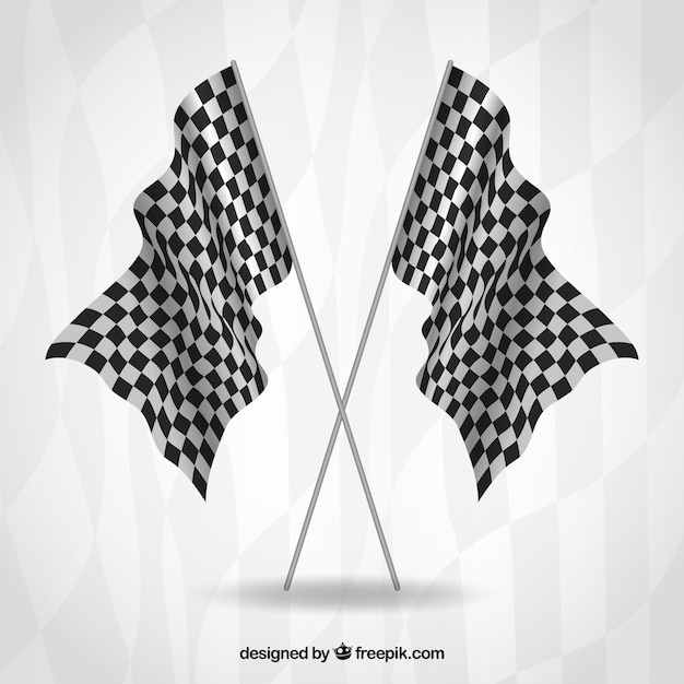 Race checkered flags with realistic design Free Vector