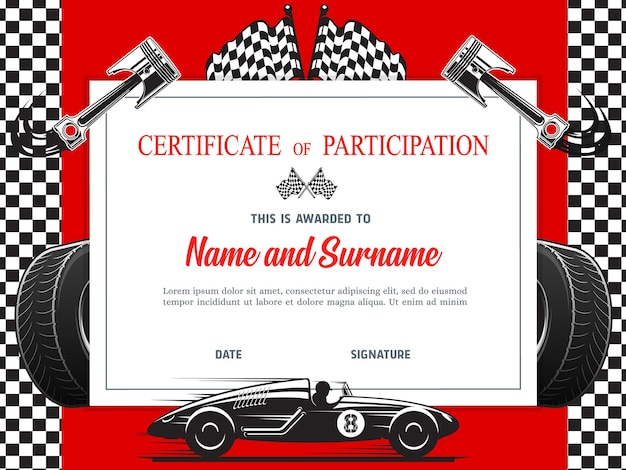 レース参加の卒業証書、証明書テンプレート Premiumベクター