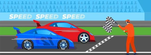 レーススポーツ競技イラスト。スピード違反の車、フィニッシュラインでの高速モーターレースの火球。 Premiumベクター