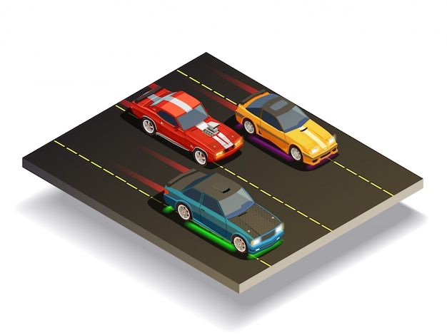 Race track cars composition Free Vector