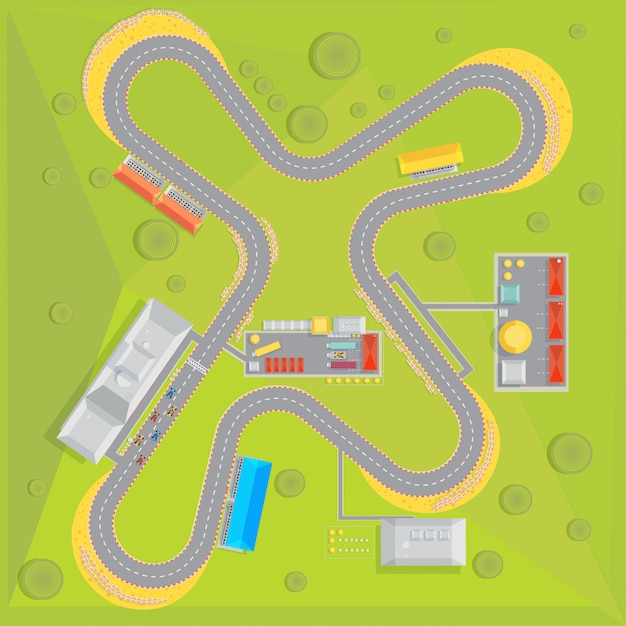 Race track composition with top view of racing course with green surrounding area and infrastructure Free Vector
