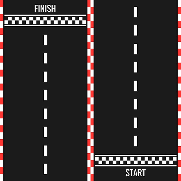 Race track with start and finish line. car or karting road racing background. top view Premium Vector