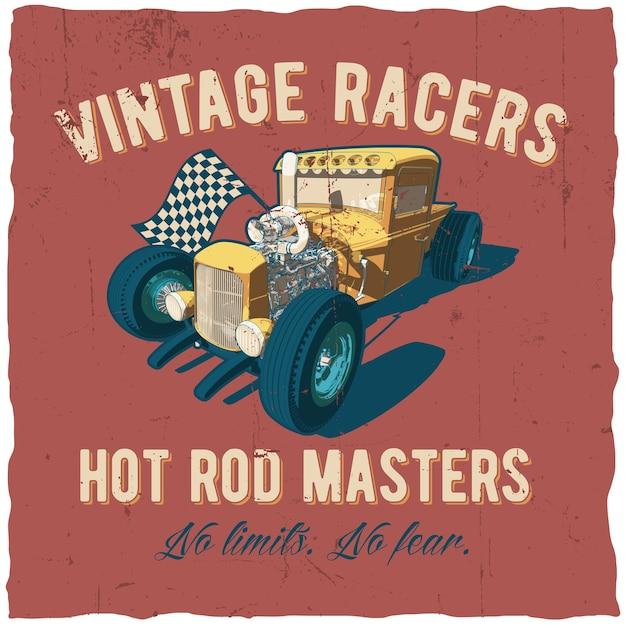 Poster di maestri hot rod di corridori con auto sul rosso Vettore gratuito