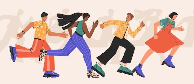 男と女の種族、速く走っている人々のグループ。ビジネス上の差別。孤立したフラット漫画スタイルの手描きイラスト。 Premiumベクター