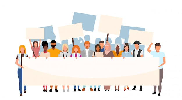 Racial inequality street protest flat illustration. social movement, demonstration against racism. multicultural activists holding blank placards cartoon characters. human rights protection event Premium Vector