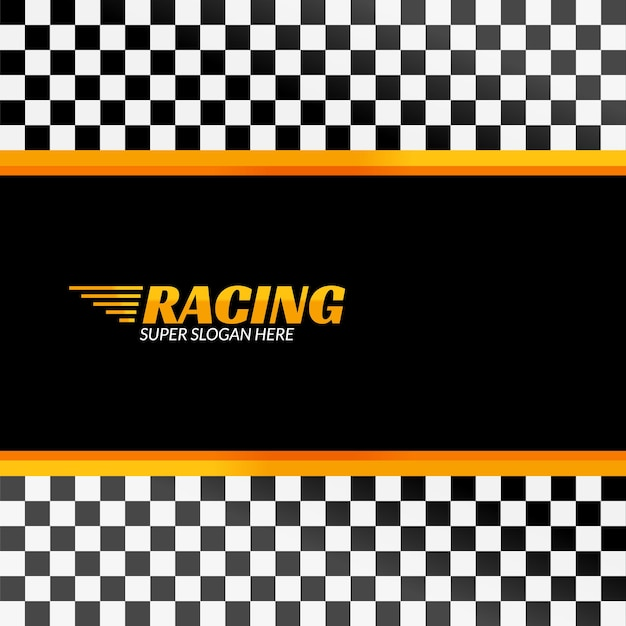 Racing background with race flag,  sport design banner or poster. Premium Vector