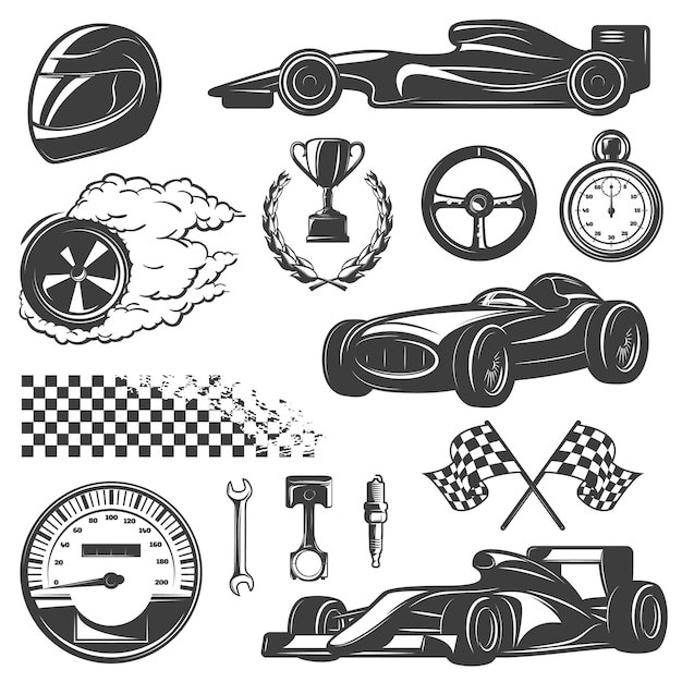 Racing black and isolated icon set with tools and equipment for street racer vector illustration Free Vector