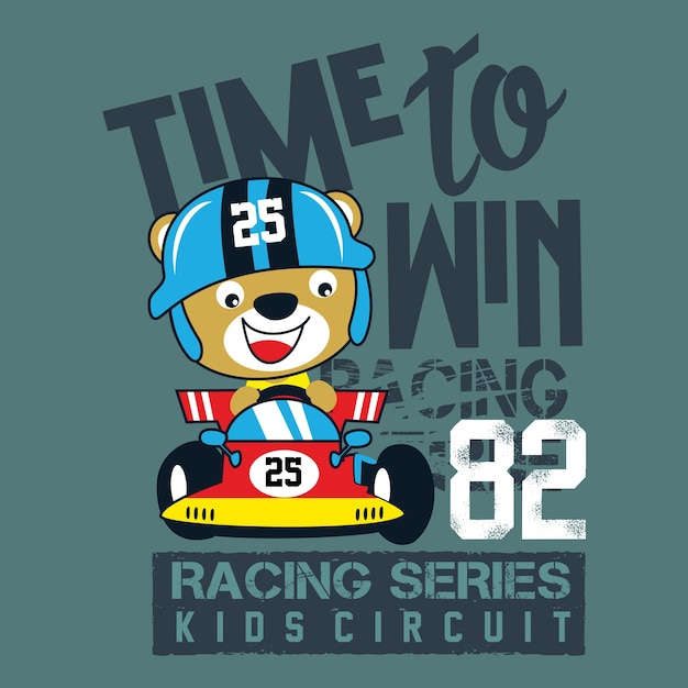 Racing car cartoon vector baby t shirt design Premium Vector