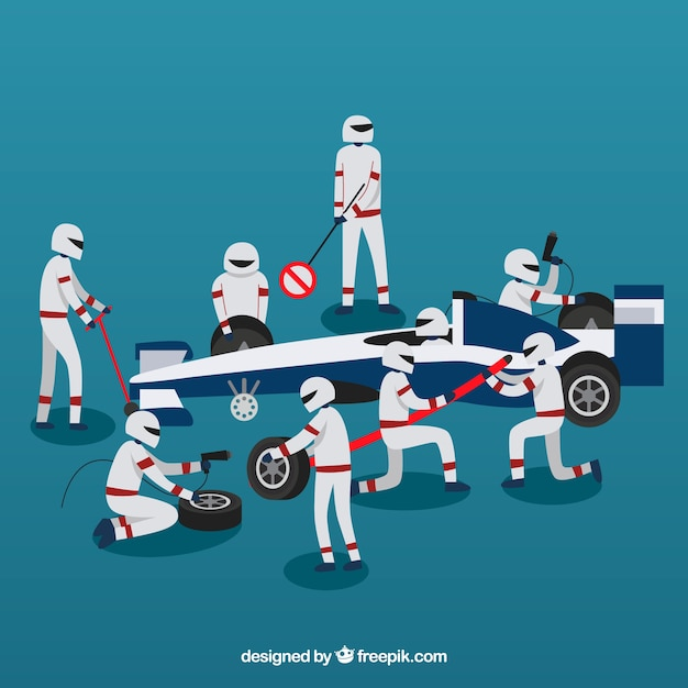 Racing car pit stop workers