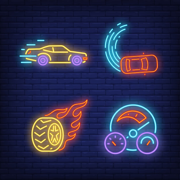 Racing cars, wheel on fire and speedometer neon signs set Free Vector
