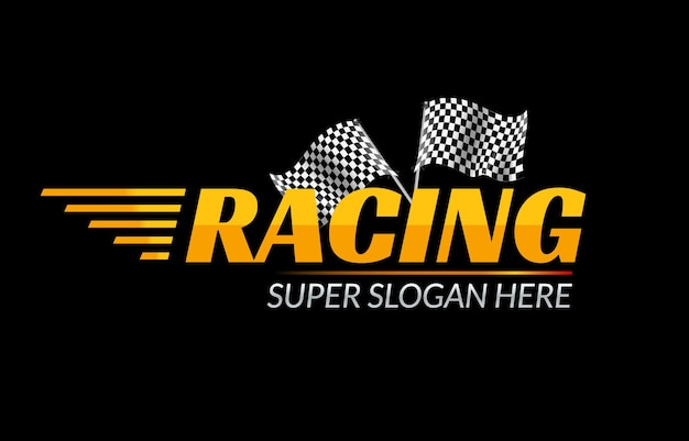 Racing championship  icon. race logo fast concept with flag. sport competition branding. Premium Vector