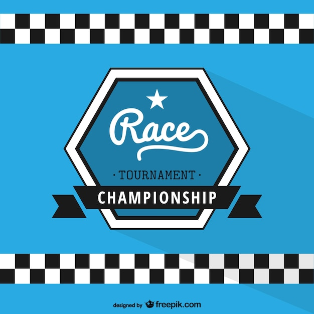 Racing championship label Free Vector