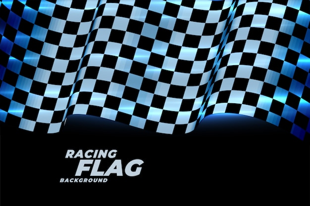 Racing checkered flag background in blue neon lights Free Vector