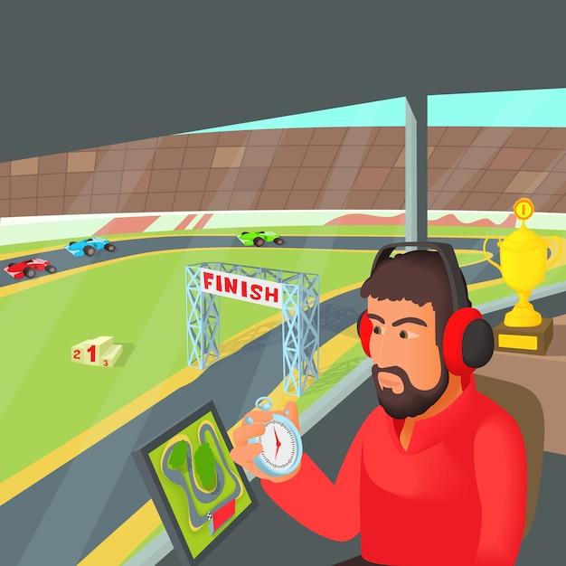 Racing coach concept Premium Vector