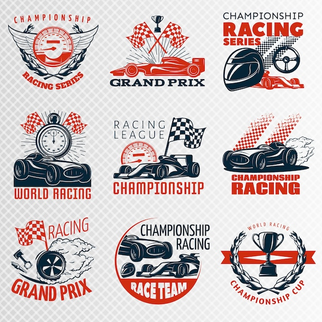 Racing emblem set in color different shapes with descriptions championship racing racing league grand prix vector illustration Free Vector