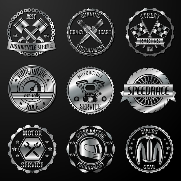 Racing emblems metallic Free Vector