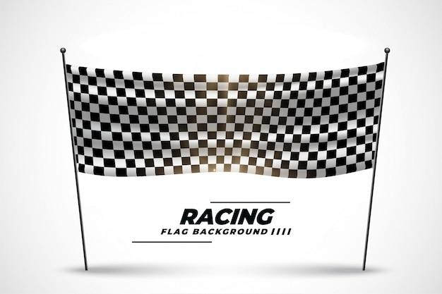 レースの開始または終了のレース旗バナー 無料ベクター