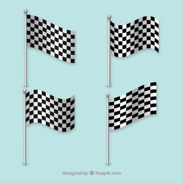 Racing flags waving lines vector Free Vector