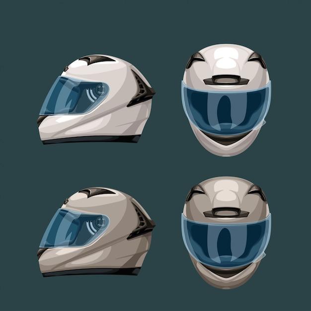 Racing helmets set on blue Premium Vector