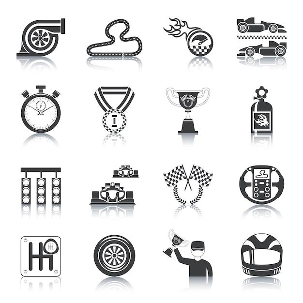 Racing icons black Free Vector