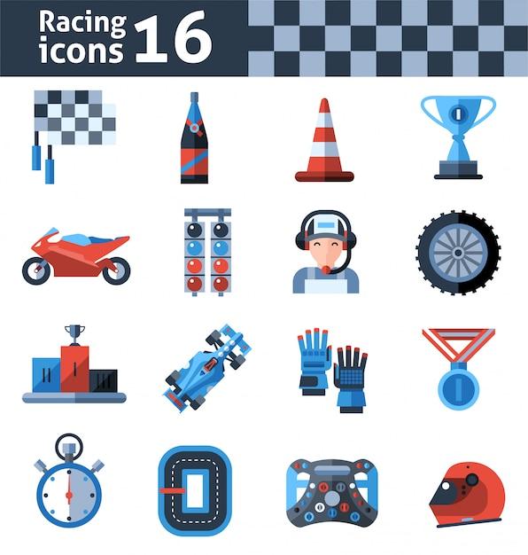 Racing icons set Free Vector