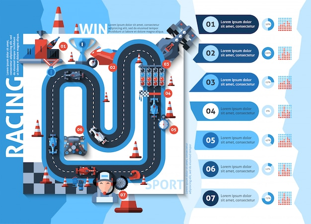 Racing infographics set Free Vector