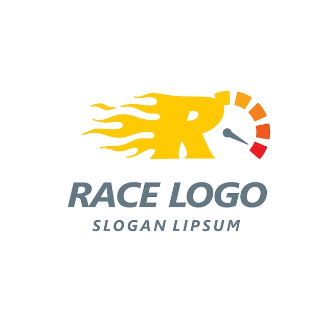Racing logo with the letter r Free Vector