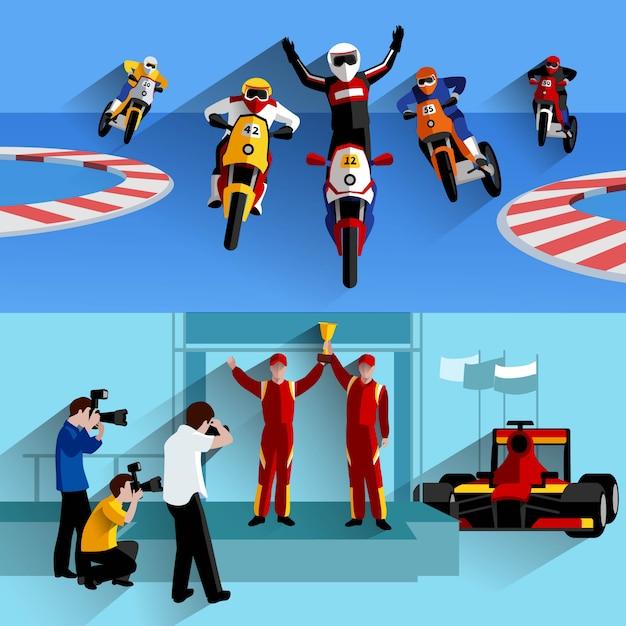 Racing and rally horizontal banners set Free Vector