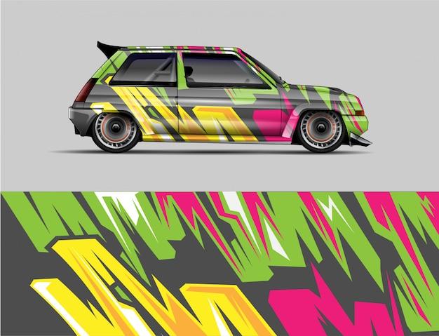 Racing retro car концепция дизайна наклейка обернуть. дикая абстрактная полоса фон для оберточных машин, гоночных автомобилей и гоночной ливрее. Premium векторы