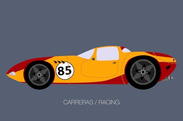 Racing retro supercar illustration Premium Vector