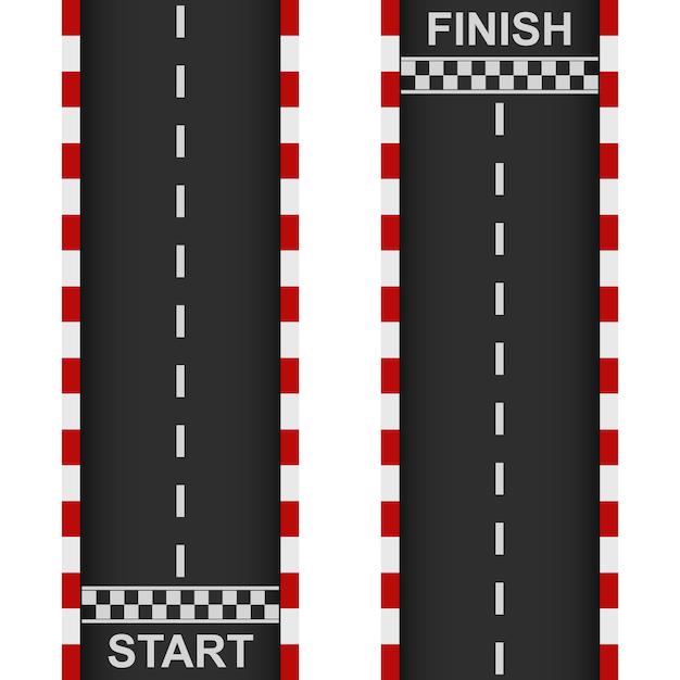 Racing road start and finish Premium Vector