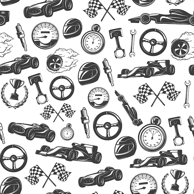Racing seamless pattern with isolated equipment and tools for racing vector illustration Free Vector