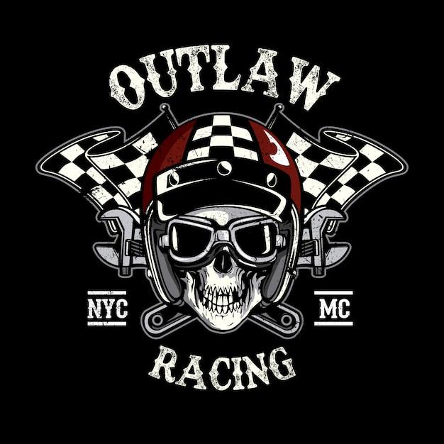 racing skull background vector premium download