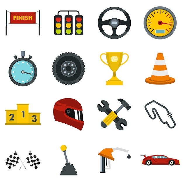 Racing speed set flat icons Premium Vector