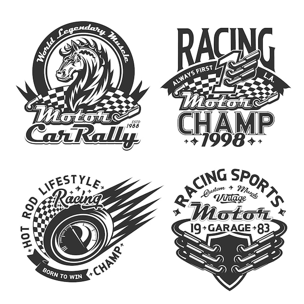 レーシングスポーツとカーラリーのtシャツプリント、モータースポーツ選手権のカスタムアパレル。レース旗、ワイルドマスタングホース、レース自動速度計、マフラーバッジテンプレートの開始と終了 Premiumベクター