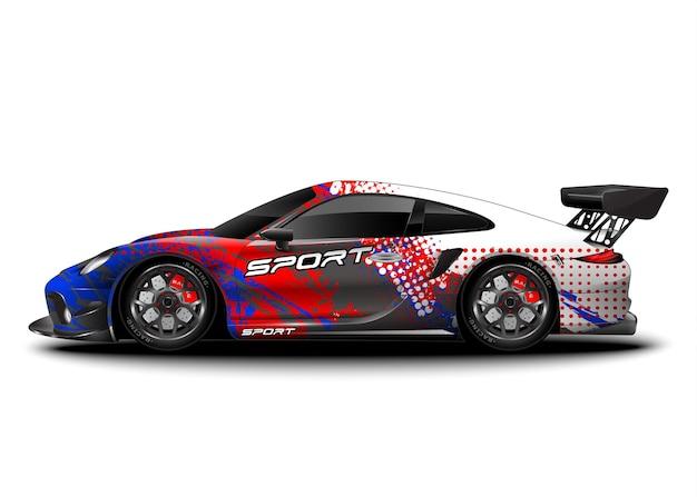 Гоночный спортивный автомобиль. оберните наклейку с наклейкой и ливрею автомобиля. Premium векторы