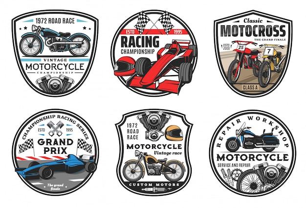 レーシングスポーツアイコン、モトクロス、車レースチャンピオンシップカップエンブレム。オートバイレースとモータースポーツ車の集会またはスピードウェイクラブチーム、ホイール、スポーツカー競馬場、旗の標識 Premiumベクター