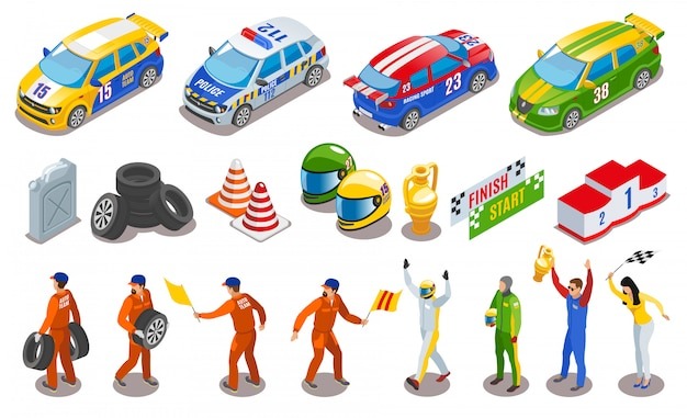 Racing sports icons set with racing team symbols isometric isolated Free Vector