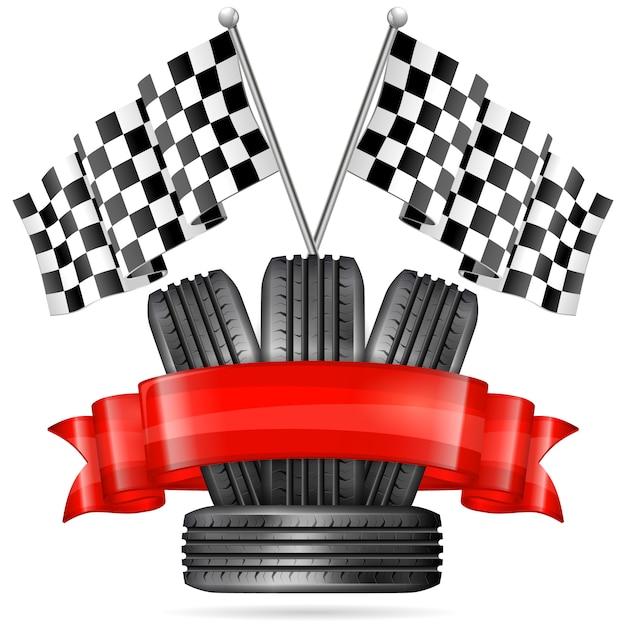 Racing tire on white Premium Vector
