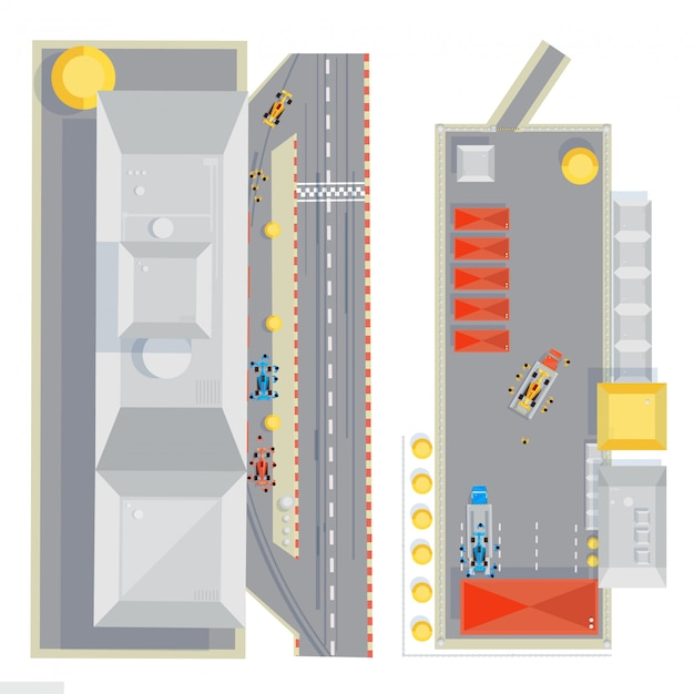 Racing track top view composition with flat images of race cars under maintenance during pit stop ve Free Vector