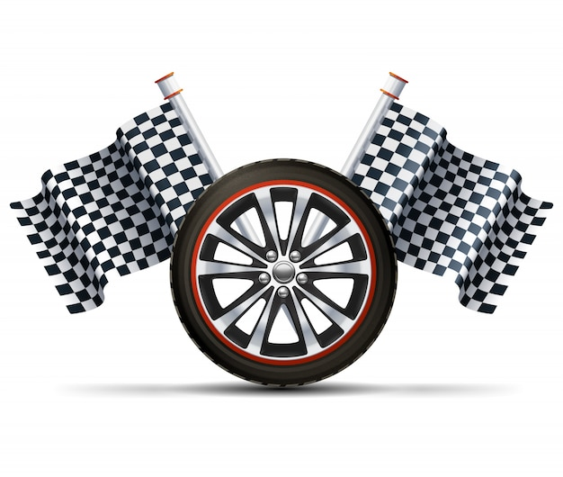 Racing Wheel With Flags Free Vector