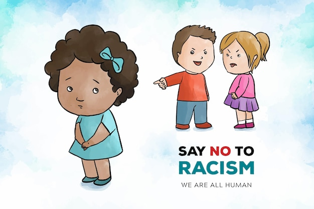 Racism concept with children Free Vector