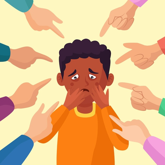 Racism concept with man being pointed at Free Vector